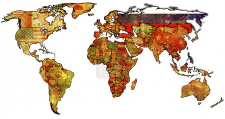 Russia on isolated map of world