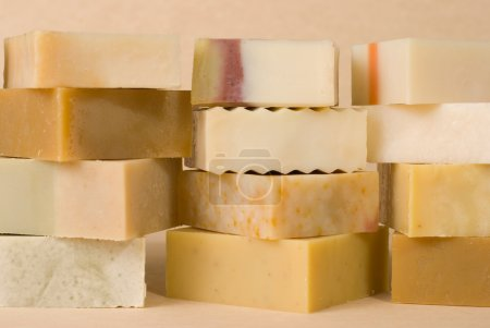 Photo for Group of handmade soap with herbal material, soap stack. - Royalty Free Image