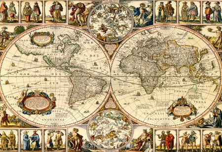 Photo for Old paper world map. - Royalty Free Image