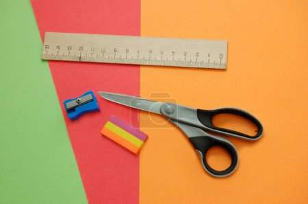 Colorful papers with different tools