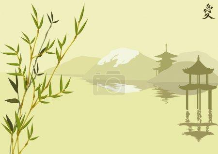 paysage japonais avec pagode et batoum