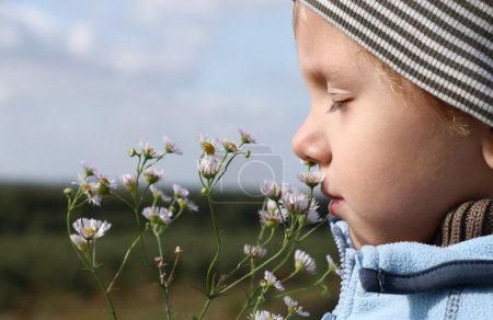 Photo for 3 years old boy smelling autumnal flower outdoors - Royalty Free Image