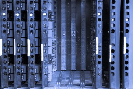 Photo for Toned image of telephone exchange system with empty slots - Royalty Free Image