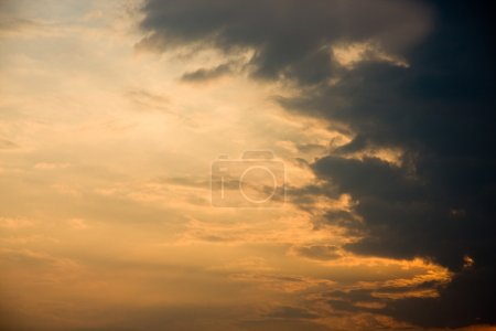 Dramatic golden sky