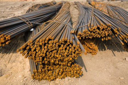 Rusty metal rods on site