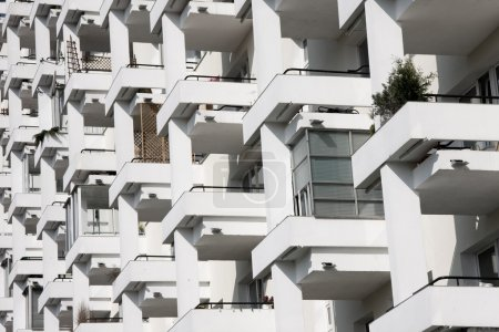Photo for Row of balconnies in modern block of flats. - Royalty Free Image