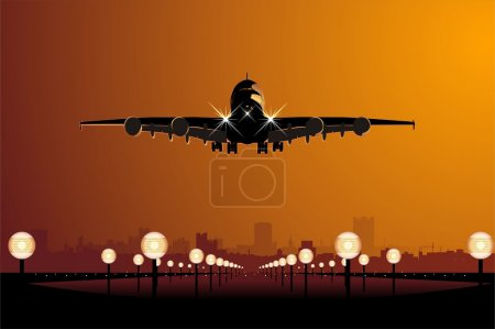 Vector airliner landing at sunset