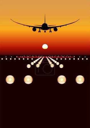 Vector DreamLiner landing at sunset