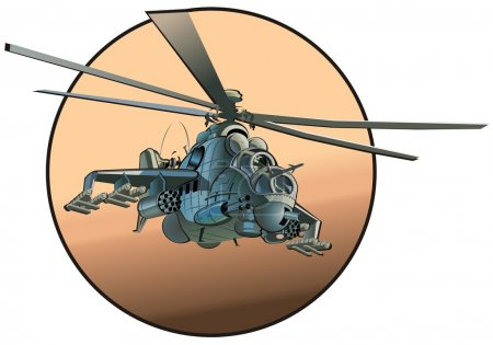 Illustration for Vector cartoon russian strike helicopter - Royalty Free Image