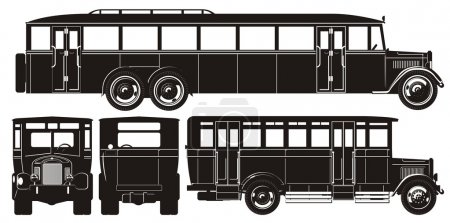 Vector retro bus set