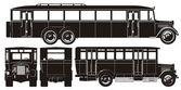 Vektorové retro autobus sada