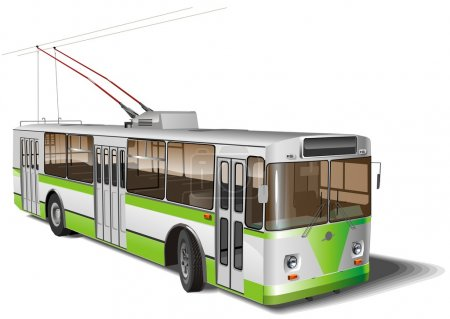 Urban trolleybus isolated