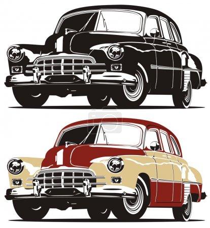 Ilustración de Vintage limusina Soviética en B&W y versiones de color - Imagen libre de derechos