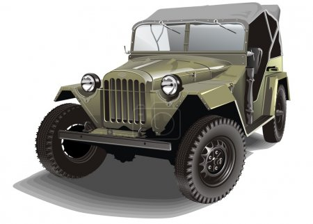 Vector retro army car gaz-67b