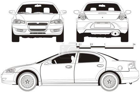 """Illustration pour Projet technique vectoriel voiture russe moderne Volga """"Siber """". - image libre de droit"""