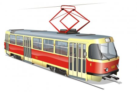 Illustration for Vector urban tram. Available AI-10 format (separated by groups and layers with transparency option) - Royalty Free Image