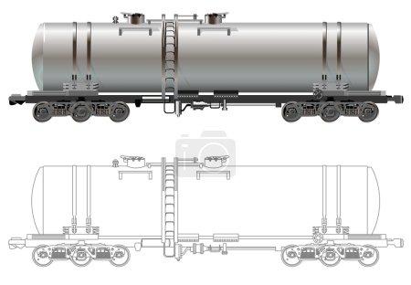 Illustration pour Hi-détail ferroviaire pétrolier / essence voiture-citerne. Isolé sur fond blanc [pour la marque] - image libre de droit