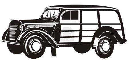 Vector retro mini van