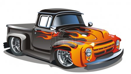 Illustration for Vector retro cartoon hot rod truck. Available AI-10 separated by groups vector format. - Royalty Free Image