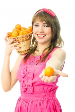Woman with tangerines