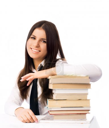 Happy student with books