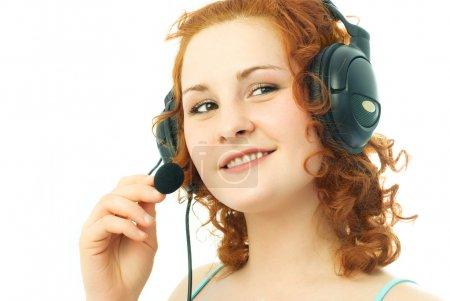 Girl wearing earphones