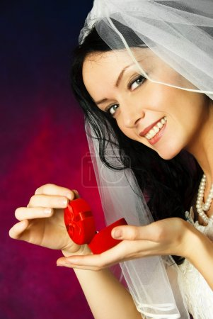 Beautiful bride with a wedding ring
