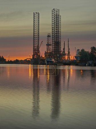 The oil platform at dawn