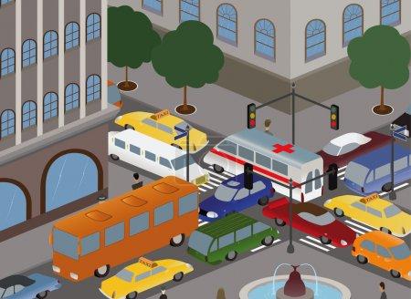 Illustration pour Différentes voitures réunies en un empilement au carrefour - image libre de droit