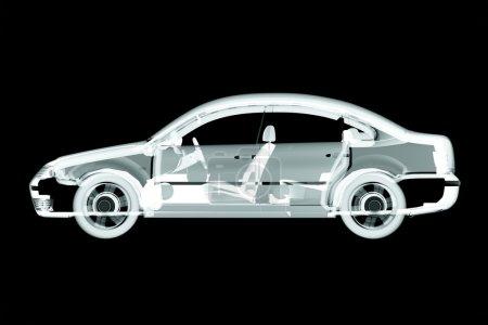 3d car x-ray render