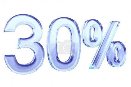 Thirty percent blue glass sign isolated