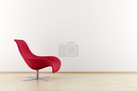 Photo for Red armchair in front of white wall - Royalty Free Image