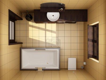 Badezimmer im japanischen Stil mit braunen Fliesen