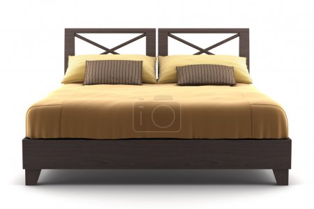 Brown wooden bed isolated on white