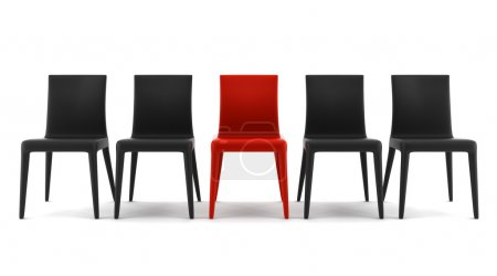 Red chair among black chairs isolated