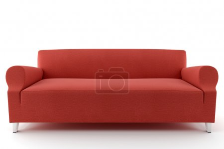 Foto de Sofá rojo 3D aislado sobre fondo blanco - Imagen libre de derechos
