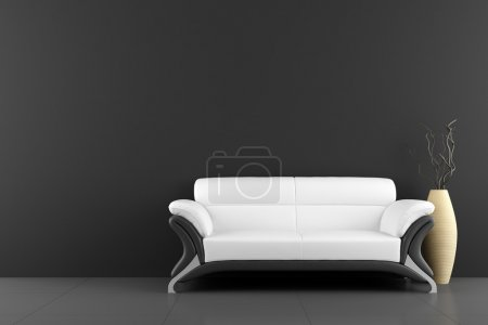Photo for White sofa and vase with dry wood in front of black wall - Royalty Free Image