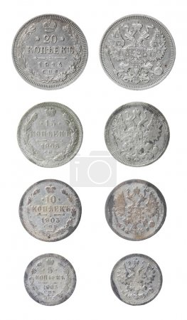 Isolated old russian coins