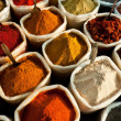 Closeup view of colorful spices at an indian marke...
