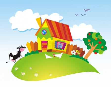 Illustration for Rural landscape with farm animals. Vector illustration - Royalty Free Image