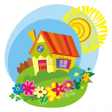 Illustration for Rural background with cute little house. Vector illustration - Royalty Free Image
