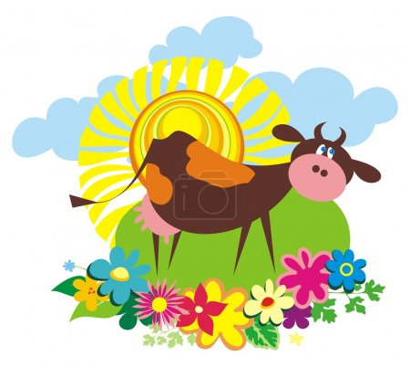 Illustration for Rural background with cute cartoon cow. Vector illustration - Royalty Free Image
