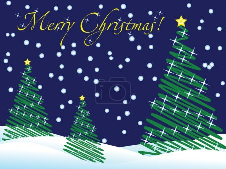 Illustration for Christmas wallpaper with new year trees and snow and greeting text - Royalty Free Image