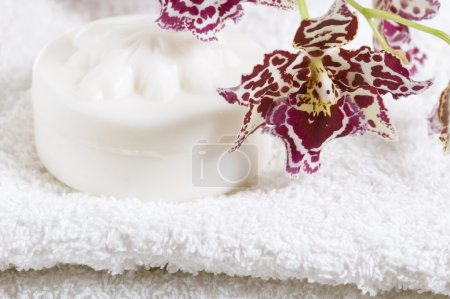 Spa items with white towels, natural soap and or