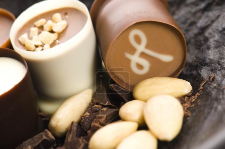Photo for Chocolates with sweet almonds - Royalty Free Image