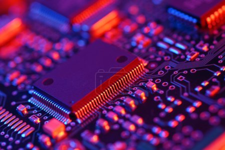 Photo for Multicolor high tech mother board with chip components background - Royalty Free Image
