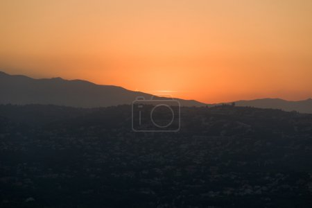 Photo for Amazing sunset in mountains, orange sky, Spain - Royalty Free Image