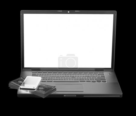 Laptop with cellphone and US money