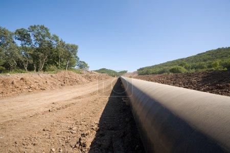 Photo pour Construction d'un nouvel oléoduc . - image libre de droit