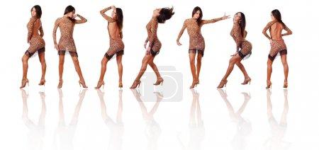 Photo pour Collection de sept belles danseuses sur fond blanc - image libre de droit